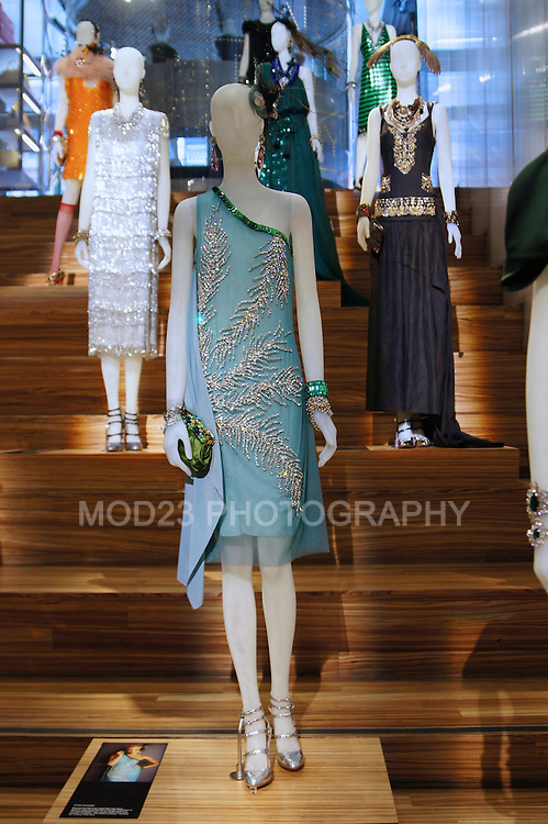 CATHERINE MARTIN, MIUCCIA PRADA presents an exhibition of costumes from The Great Gatsby movie in Prada, Soho, NYC. May 3 2013
