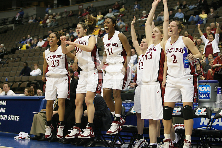 20 March 2006: Rosalyn Gold-Onwude, Brooke Smith, Candice Wiggins, Jillian Harmon, Kristen Newlin during Stanford's 88-70 win over Florida State in the second round of the NCAA Women's Basketball championships at the Pepsi Center in Denver, CO.