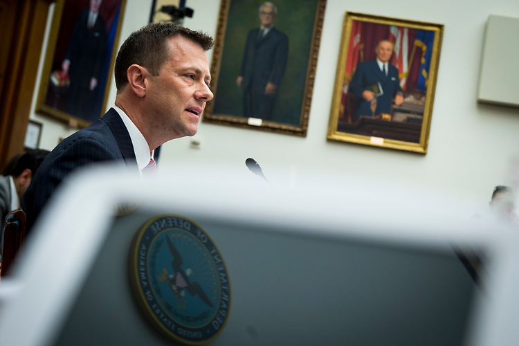 UNITED STATES – July 12: FBI Deputy Assistant Director Peter Strzok testifies in front of the House Judiciary Committee and House Oversight and Government Reform Committee during a joint hearing on, 'Oversight of FBI and DOJ Actions Surrounding the 2016 Election' Thursday July 12, 2018.  (Photo By Sarah Silbiger/CQ Roll Call)