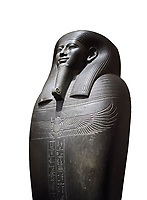 Ancient Egyptian greywacke sarcophagus of Vizier Gemenefherbak - late Period, 26th Dynasty (664-525BC). Egyptian Museum, Turin. white background<br /> <br /> Gemenefherbak was a vizier, minister, as indicated by a pendant picturing the goddess Maat hanging around his neck in the shadow of his beard. Despite the hardness of the greywacke stone the sarcophagus is made from, its makers have shown incredible skill creating a sarcophagus with intricate detail and a highly polished finish.