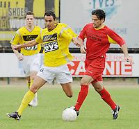 SC Wielsbeke - Cappellen FC..duel tussen Jessy Lebsir (links) en Slobodan Slovic (rechts)..foto VDB / BART VANDENBROUCKE