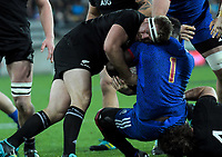 NZ's Sam Cane tries to wrestle the ball off France's Dany Priso during the Steinlager Series international rugby match between the New Zealand All Blacks and France at Westpac Stadium in Wellington, New Zealand on Saturday, 16 June 2018. Photo: Dave Lintott / lintottphoto.co.nz