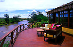 Africa, Kenya, Maasai Mara, Olanana. The deck at Olanan Camp on the Olana River.