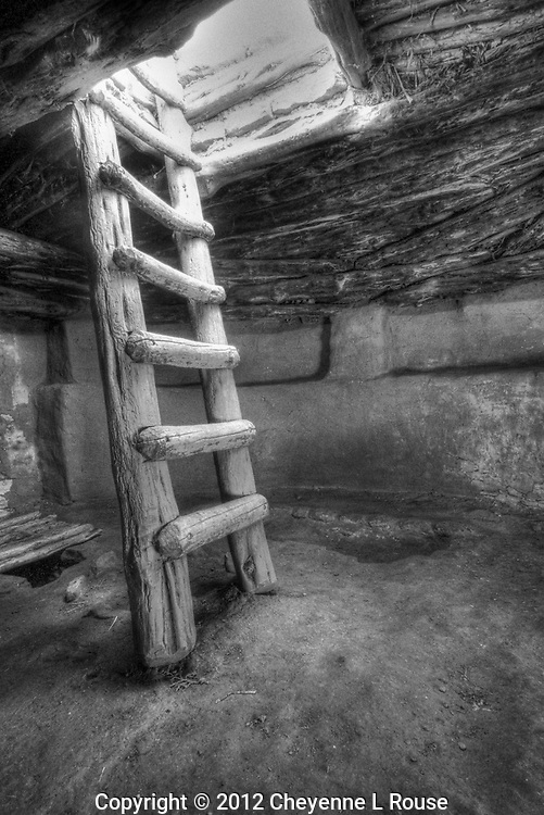 Kiva Ladder - Utah (BW)<br /> Edge of the Cedars State Park. <br /> &copy; 2012 Cheyenne L Rouse/All rights reserved