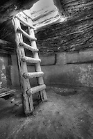 Kiva Ladder - Utah (BW)<br /> Edge of the Cedars State Park. <br /> © 2012 Cheyenne L Rouse/All rights reserved