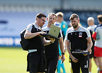 18th July 2020; The Kiyan Prince Foundation Stadium, London, England; English Championship Football, Queen Park Rangers versus Millwall; A very angry Millwall Manager Gary Rowett looking at a video replay from his coaches laptop after full time of Shaun Hutchinson of Millwall goal being disallowed just before full time by Referee James Linington