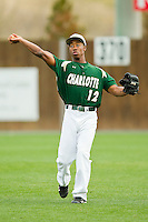Right fielder Leland Clemmons #12 of the Charlotte 49ers throws between innings of the game against the Saint Peter's Peacocks at Robert and Mariam Hayes Stadium on February 18, 2012 in Charlotte, North Carolina.  Brian Westerholt / Four Seam Images