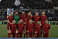 Calcio, Serie A: S.S. Lazio - A.S. Roma, stadio Olimpico, Roma, 15 aprile 2018. <br /> Roma's players pose for the pre match photograph prior to the Italian Serie A football match between S.S. Lazio and A.S. Roma at Rome's Olympic stadium, Rome on April 15, 2018.<br /> UPDATE IMAGES PRESS/Isabella Bonotto