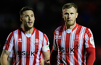 Lincoln City's Jason Shackell, left, with team-mate Michael O'Connor<br /> <br /> Photographer Chris Vaughan/CameraSport<br /> <br /> Emirates FA Cup First Round - Lincoln City v Northampton Town - Saturday 10th November 2018 - Sincil Bank - Lincoln<br />  <br /> World Copyright &copy; 2018 CameraSport. All rights reserved. 43 Linden Ave. Countesthorpe. Leicester. England. LE8 5PG - Tel: +44 (0) 116 277 4147 - admin@camerasport.com - www.camerasport.com