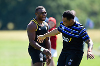 Semesa Rokoduguni and Anthony Perenise of Bath Rugby. Bath Rugby pre-season training on July 2, 2018 at Farleigh House in Bath, England. Photo by: Patrick Khachfe / Onside Images