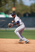 Detroit Tigers Alexis Garcia (73) throws to first base during an Instructional League game against the Atlanta Braves on October 10, 2017 at the ESPN Wide World of Sports Complex in Orlando, Florida.  (Mike Janes/Four Seam Images)