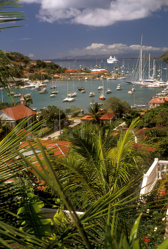 AJ2432, St. Barthelemy, Caribbean, Saint Barts, Gustavia, St. Barts, Caribbean Islands, Picturesque aerial view of the harbor in Gustavia the capital of the island of Saint Barthelemy (a department of Guadeloupe).