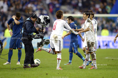 (L-R) Hiroshi Kiyotake, Shinji Kagawa (JPN),.OCTOBER 12, 2012 - Football /Soccer :.Hiroshi Kiyotake and Shinji Kagawa of Japan celebrate after the international friendly match between France 0-1 Japan at Stade de France in Saint-Denis, France. (Photo by FAR EAST PRESS/AFLO)