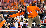 Clemson head coach Dabo Swinney celebrates defeating Alabama to win the 2017 College Football Playoff National Championship in Tampa, Florida on January 9, 2017.  Clemson defeated Alabama 35-31. Photo by Mark Wallheiser/UPI