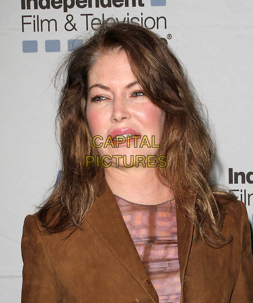 """LARA FLYNN BOYLE .""""Where The Day Takes You"""" - IFTA Special Screening held At the Aero Theatre, Santa Monica, CA, USA, .9th December 2010..portrait headshot  brown suede jacket purple print top mouth open funny .CAP/ADM/KB.©Kevan Brooks/AdMedia/Capital Pictures."""