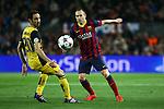 UEFA Champions League 2013/2014.<br /> Quarter-finals 1st leg.<br /> FC Barcelona vs Club Atletico de Madrid: 1-1.<br /> Juanfran vs Andres Iniesta.
