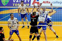 GRONINGEN - Volleybal , Lycurgus - Taurus, kampioenspoule, seizoen 2018-2019, 13-04-2019, Lycurgus speler Auke van der Kamp laat de bal achter het net vallen