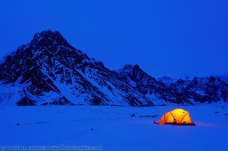 Winter camp, Twaharpies glacier moraine, Twaharpies mountains, Wrangell St. Elias mountain range, Wrangell St. Elias National Park, Alaska