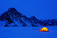 Winter camp, Twaharpies glacier moraine, Twaharpies mountains, Wrangell St. Elias mountain range, Wrangell St. Elias National Park, Alaska