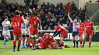 7th February 2020; AJ Bell Stadium, Salford, Lancashire, England; Premiership Cup Rugby, Sale Sharks versus Saracens; Referee Hamish Smales awards a fourth try for Sale Sharks scored by Akker van der Merwe