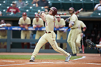 Taylor Walls (10) of the Florida State Seminoles follows through on his swing against the North Carolina Tar Heels in the 2017 ACC Baseball Championship Game at Louisville Slugger Field on May 28, 2017 in Louisville, Kentucky. The Seminoles defeated the Tar Heels 7-3. (Brian Westerholt/Four Seam Images)