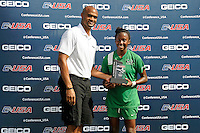 8 November 2015:  A Marshall player is presented an award after the match as the University of North Texas Mean Green defeated the Marshall University Thundering Herd, 1-0, in the Conference USA championship game at University Park Stadium in Miami, Florida.
