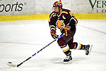 3 January 2009: Ferris State Bulldogs' defenseman Zach Redmond, a Sophomore from Traverse City, MI, in action against the Colgate Raiders during the consolation game of the 2009 Catamount Cup Ice Hockey Tournament hosted by the University of Vermont at Gutterson Fieldhouse in Burlington, Vermont. The two teams battled to a 3-3 draw, with the Bulldogs winning a post-game shootout 2-1, thus placing them third in the tournament...Mandatory Photo Credit: Ed Wolfstein Photo