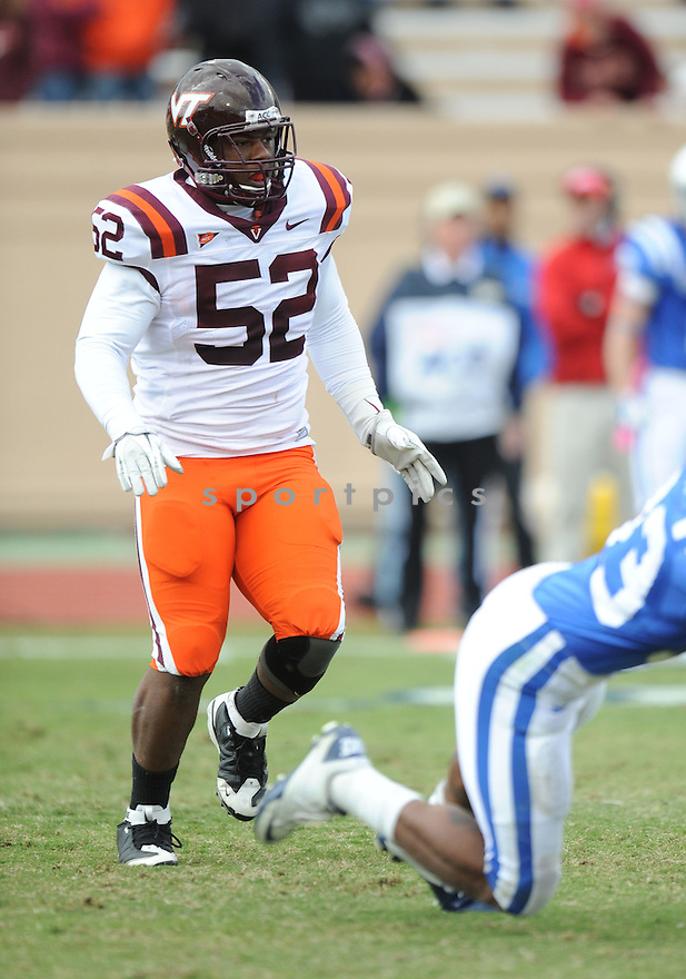 BARQUELL RIVERS, of the Virginia Tech Hokies in action during Virginia Tech's game against the Duke Blue Devils on October 29, 2011 at Wallace Wade Stadium in Durham, NC. Virginia Tech beat Duke 14-10.