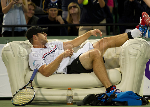 01.12.2012. Miami, Florida, USA.   Andy Roddick during a friendly match against Andy Murray  at the first Miami Tennis Cup in Crandon Park Tennis Center, Miami Florida