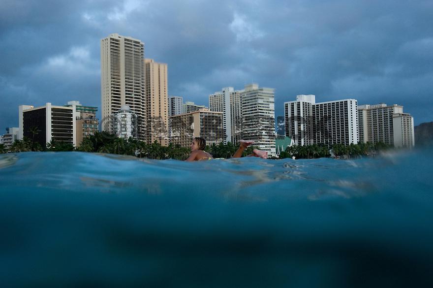 Vanina Walsh surfing in Waikiki in Hawaii.