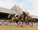 Signalman (no. 6) wins Race 1, Sep. 1, 2018 at the Saratoga Race Course, Saratoga Springs, NY.  Ridden by David Cohen., and trained by Kenneth McPeek, Signalman  finished a nose in front of Lion Dance (no. 3).  (Bruce Dudek/Eclipse Sportswire)