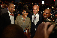 Washington, DC - January 2, 2015: Former D.C. mayor Anthony Williams (l), Baltimore Mayor Stephanie Rawlings Blake (c,l), former D.C. mayor Adrian Fenty and Philadelphia Mayor Michael Nutter, pose for photos after the 2015 inauguration ceremony held at the Washington Convention Center, January 2, 2015.   (Photo by Don Baxter/Media Images International)