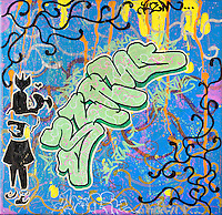 """""""ELAW""""  Graffiti art picture by Tom Randall Williams with Graffiti  type on a blue background"""