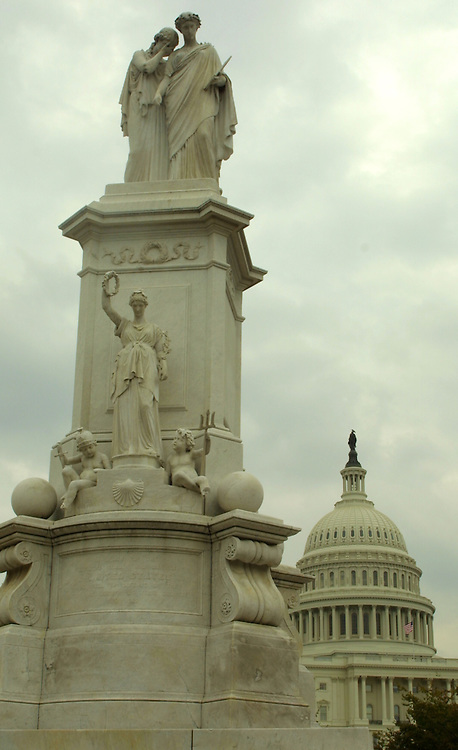 statue101702 - The peace staute on the west front of the Capitol.