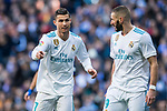 Cristiano Ronaldo (L) of Real Madrid talks to teammate Karim Benzema during the La Liga 2017-18 match between Real Madrid and FC Barcelona at Santiago Bernabeu Stadium on December 23 2017 in Madrid, Spain. Photo by Diego Gonzalez / Power Sport Images
