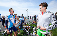 24 APR 2011 - NICE, FRA -  Will Clarke (Lagardere) (left) and Alistair Brownlee (Sartrouville) joke before the start of the first round of the men's 2011 French Grand Prix triathlon series .(PHOTO (C) NIGEL FARROW)