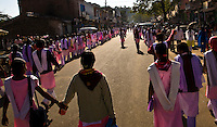 School girls peacefully protesting a lack of qualified teachers. (Photo by Matt Considine - Images of Asia Collection)