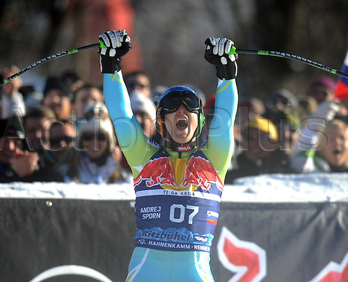 23 01 2010 Ski Alpine World Cup 2009 2010 Downhill Kitzbuhel 23 01 2010 Andrej Sporn SLO cheering