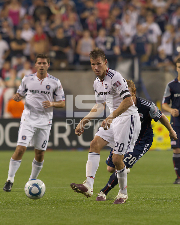 Chicago Fire forward Brian McBride (20) passes the ball. The Chicago Fire defeated the New England Revolution, 1-0, at Gillette Stadium on June 27, 2010.