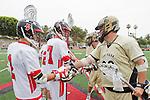 Palos Verdes, CA 05/07/11 - Jonathon Gonzalez (Palos Verdes #2) and Conner Phillips (Oak Park #36) greet before the game.