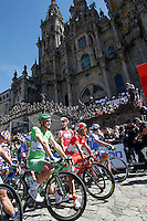 John Degenkolb and Joaquin Purito Rodriguez (r) passes by the front of the Obradoiro of the Cathedral of Santiago de Compostela before the stage of La Vuelta 2012 between Santiago de Compostela and Ferrol.August 31,2012. (ALTERPHOTOS/Acero)
