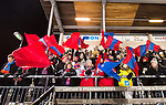Stockholm 2016-01-20 Bandy Elitserien Hammarby IF - Edsbyns IF :  <br /> Edsbynssupportrar med flaggor efter matchen mellan Hammarby IF och Edsbyns IF <br /> (Foto: Kenta J&ouml;nsson) Nyckelord:  Elitserien Bandy Zinkensdamms IP Zinkensdamm Zinken Hammarby Bajen HIF Edsbyn EIF supporter fans publik supporters jubel gl&auml;dje lycka glad happy