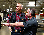 Illinois Governor Bruce Rauner visited Mac Medical in Millstadt, Illinois on Friday March 23 as part of his statewide tour to kick off his general election campaign. Rauner toured the facility, which manufactures medical equipment in its 100,000 square foot facility. Here Rauner (left) listens as Mac Medical owner and president Dennis Cooper explains what they manufacture.