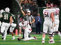 NWA Democrat-Gazette/CHARLIE KAIJO Arkansas Razorbacks quarterback Cole Kelley (15) reacts after a sack during the fourth quarter of a football game, Saturday, September 8, 2018 at Colorado State University in Fort Collins, Colo.