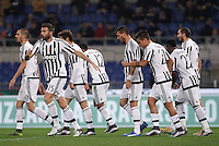 Calcio, Serie A: Lazio vs Juventus. Roma, stadio Olimpico, 4 dicembre 2015.<br /> Juventus&rsquo; players celebrate after Lazio&rsquo;s Santiago Gentiletti scored an own goal during the Italian Serie A football match between Lazio and Juventus at Rome's Olympic stadium, 4 December 2015.<br /> UPDATE IMAGES PRESS/Isabella Bonotto