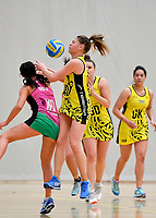 Central Manawa&rsquo;s Paris Lokotui and Southern Blast&rsquo;s Julia Law in action during the Beko Netball League - Central Manawa v Southern Blast at ASB Sports Centre, Wellington, New Zealand on Sunday 12 May 2019. <br /> Photo by Masanori Udagawa. <br /> www.photowellington.photoshelter.com