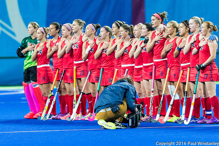 USA team during the national anthem prior tp the USA vs India women's Pool B game at the Rio 2016 Olympics at the Olympic Hockey Centre in Rio de Janeiro, Brazil.