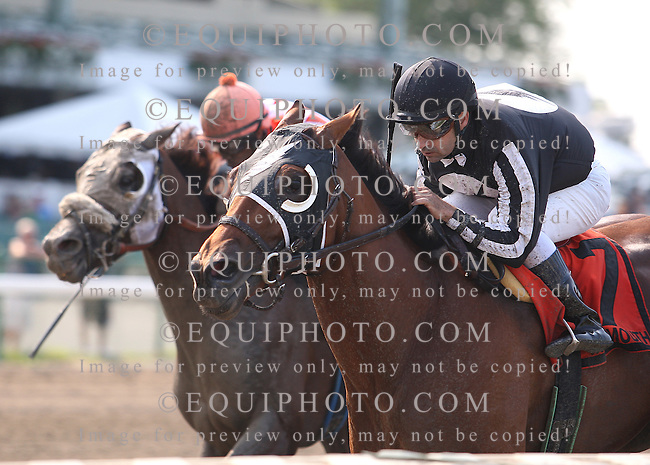 Royal Currier #7 with Joe Bravo riding held off the challenge of Raging Six (L) and Kendrick Carmouche to win the $75,000 Mr. Prospector Stakes at Monmouth Park in Oceanport, N.J. on Sunday 7/8/12.  Photo by Bill Denver/EQUI-PHOTO
