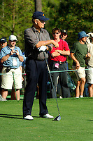 Masters Golf Tournament 2005, Augusta National Georgia, USA. Jack Nicklaus with his driver.<br /> <br /> Champion 2005 - Tiger Woods <br /> <br /> Note: There is no property release or model release available for this image.