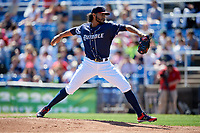Binghamton Rumble Ponies starting pitcher Marcos Molina (29) delivers a pitch during a game against the Altoona Curve on June 14, 2018 at NYSEG Stadium in Binghamton, New York.  Altoona defeated Binghamton 9-2.  (Mike Janes/Four Seam Images)